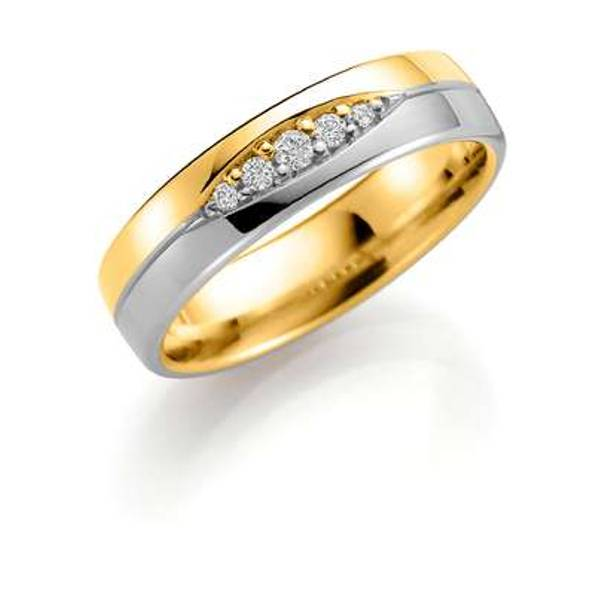 Bilde av Deg&Meg ring 585 gull 5mm 0,09ct SE148TF50 pris per stk