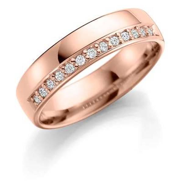 Bilde av Deg&Meg ring 585 roségull 5mm 0,13ct SE153RO50 pris per stk