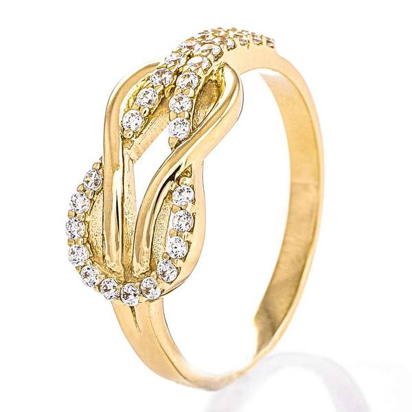 Bilde av Ring 585 gult gull cz 57546