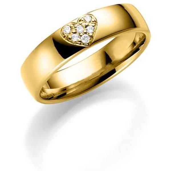 Bilde av Deg&Meg ring 585 gultgull 5mm 0,06ct SE140GU50 pris per stk