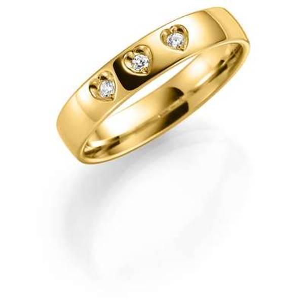 Bilde av Deg&Meg ring 585 gultgull 4mm 0,09ct SE142GU40 pris per stk
