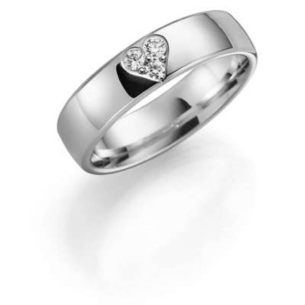 Bilde av Deg&Meg ring 585 hvittgull 5mm 0,11ct SE143HV50 pris per stk