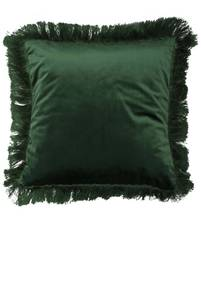 Bilde av Velur putetrekk mørk grønn m/frynser