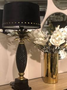 Bilde av Tropical bordlampe svart/gull med skjerm