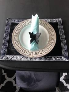 Bilde av Aten bordbrikke svart/sølv