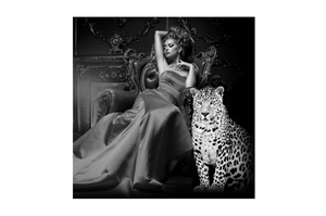 Bilde av Lady in chair with tiger 120X120