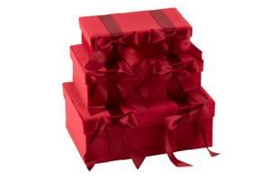 Bilde av Fløyel /Sateng bokser dyp rød 3stk
