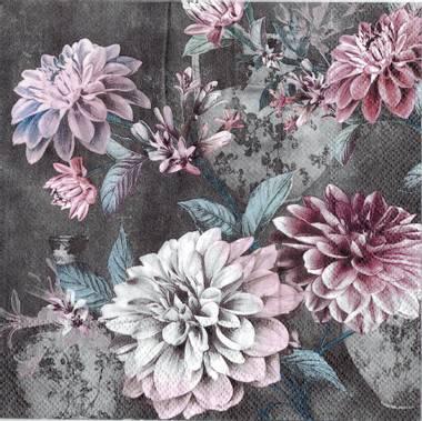 Serviett grå blomster