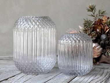 Glassvase med mønster