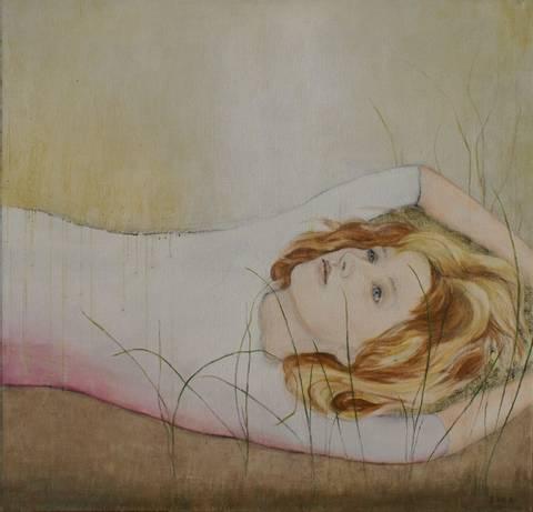 Bilde av Girl, Grass - maleri  av June Sira