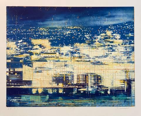 Bilde av City (håndkolorert) av Frank Brunner