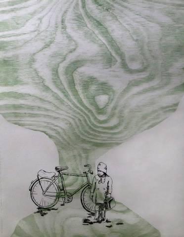 Bilde av Gammelt tre og en sykkel av Ida Løkken