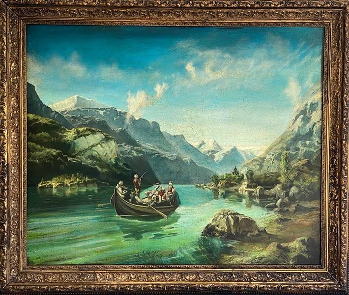 Brudeferden paa Fjorden av Jan Terje Rafdal m/ ramme