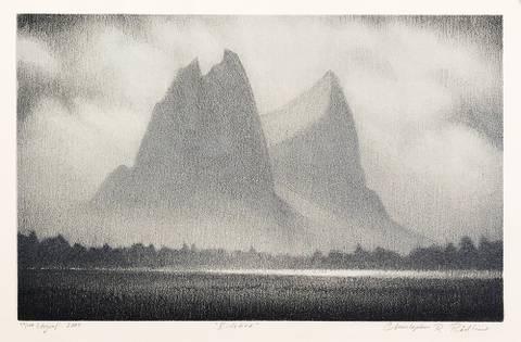 Bilde av Eidetind, litografi av Christopher Rådlund