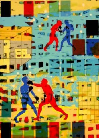 Bilde av Indre kamp rød mot blå av Mona Grini