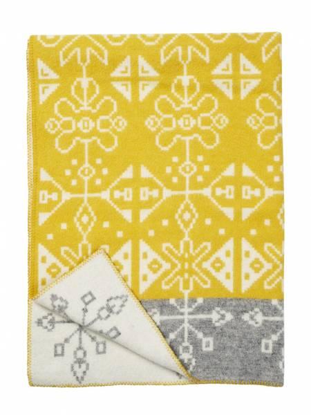 Tradition yellow, woven blanket, 100% eco lambs wool