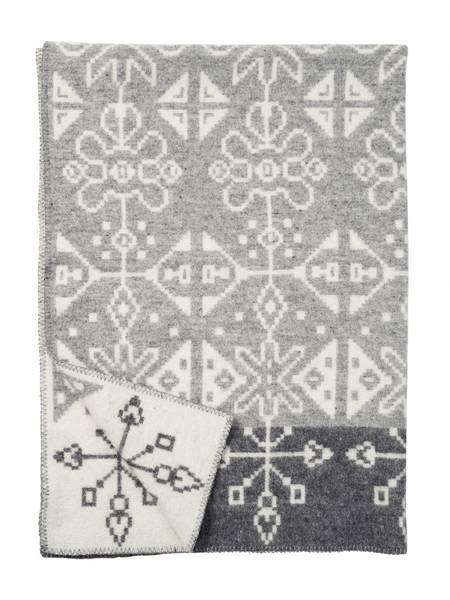 Tradition grey, woven blanket, 100% eco lambs wool