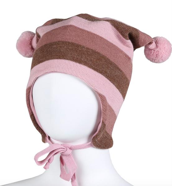 Bilde av lue ull knytting brede rosa