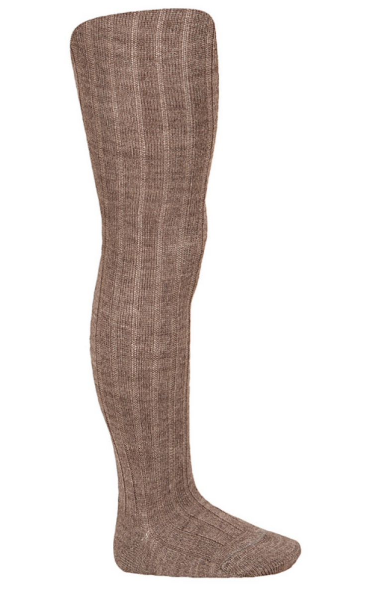 Strømpebukse ull brunmelert cóndor rib