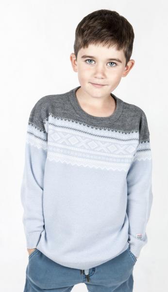 Bilde av genser ull marius lys blå