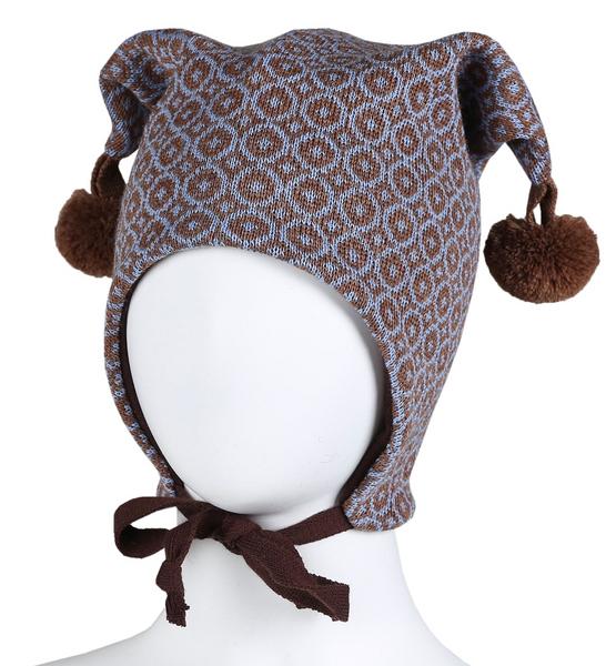Bilde av lue ull knytting brun/blå