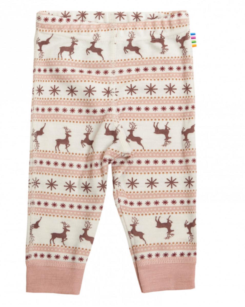 leggings ull vinter reinsdyr rosa