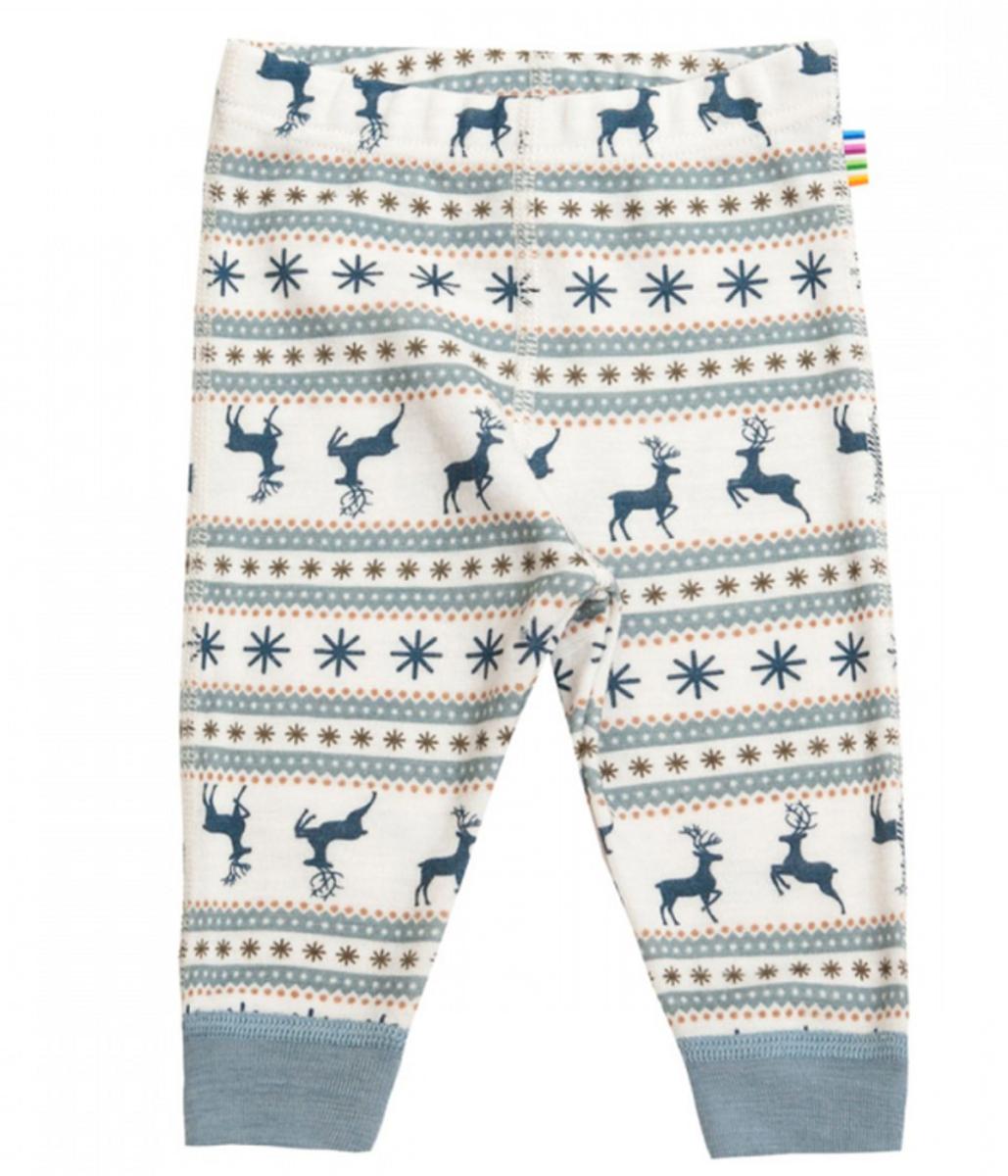 leggings ull vinter reinsdyr blå