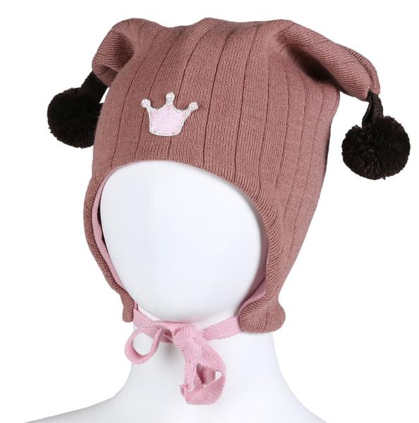 Bilde av Lue ull knytting rosa krone