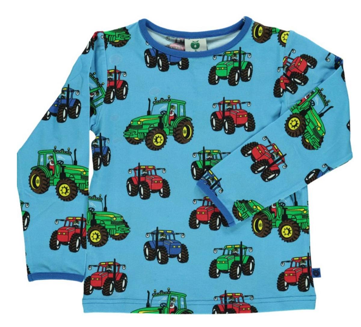 Genser med traktor blue grotto