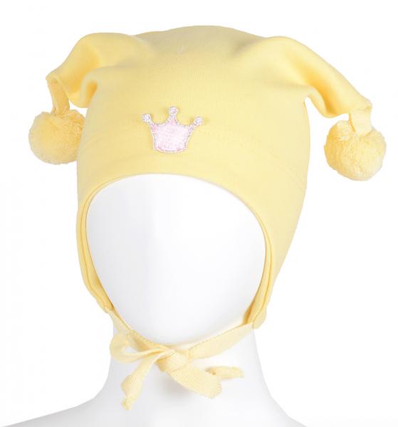Bilde av Lue bomull knytting gul med