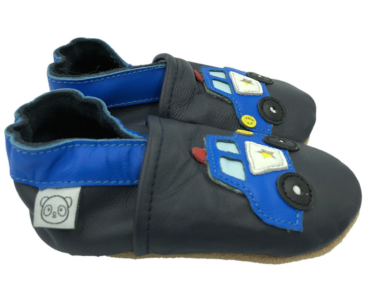 Tøffel politibil sort panda feet