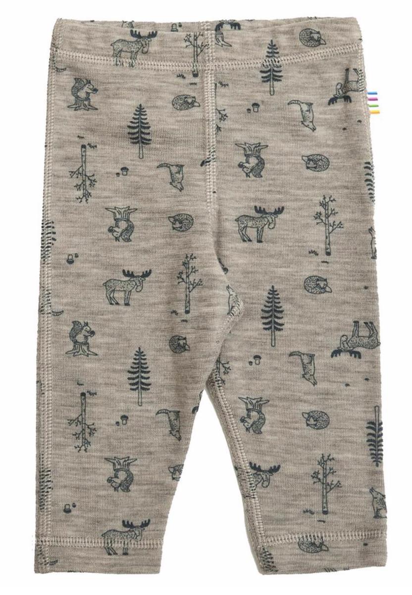 leggings ull beige dyr/skog mørkeblå