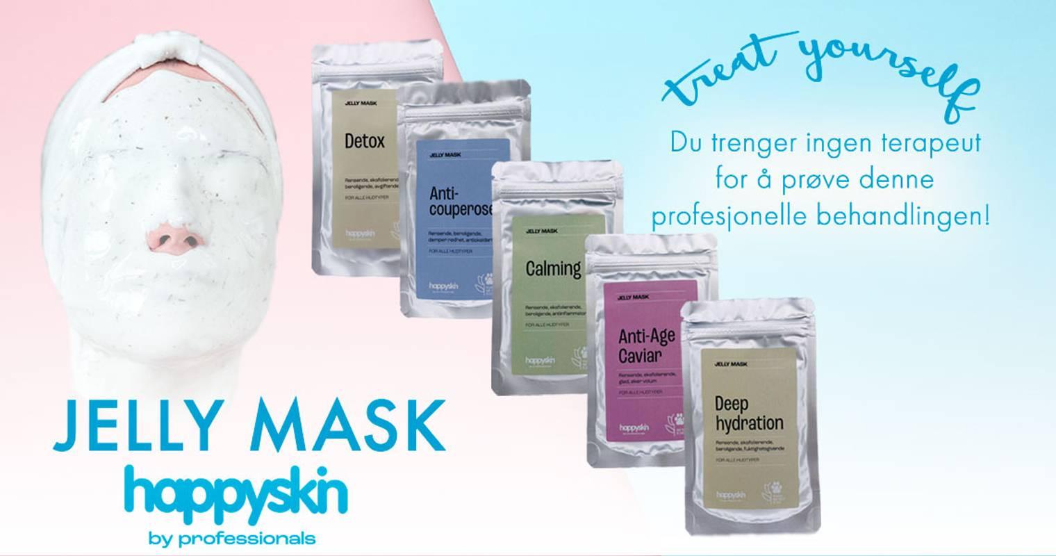 jelly mask, rubber mask, profesjonelle masker, hudpleie, tørr hud, fet hud, sensitiv hud, anti-aging, rynker,