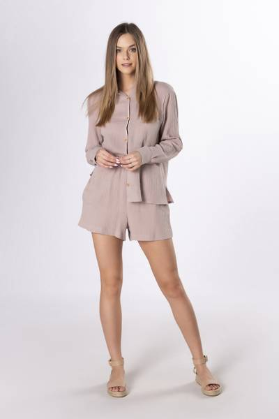 EXCLUSIVE Sett Skjorte+Shorts Mokka