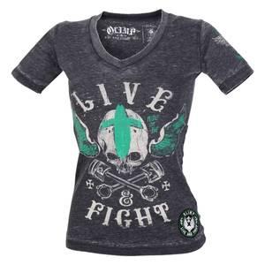 Bilde av Live & Fight Lady's Tee - Ride Free - Charcoal -