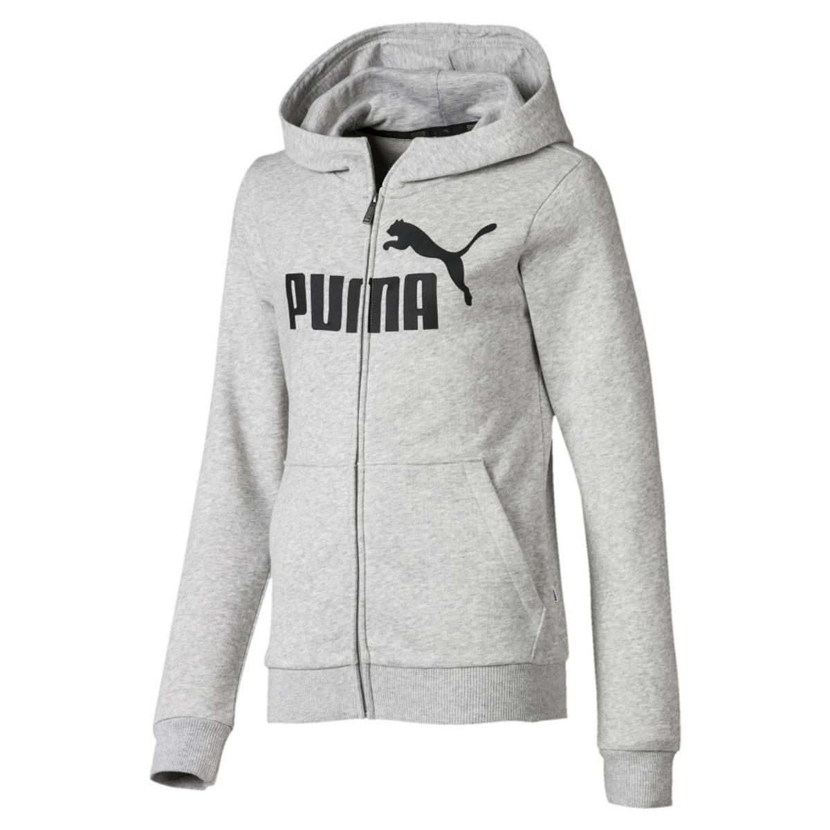 Grå Puma Essentials Hooded Jacket TR Girl Hettegenser