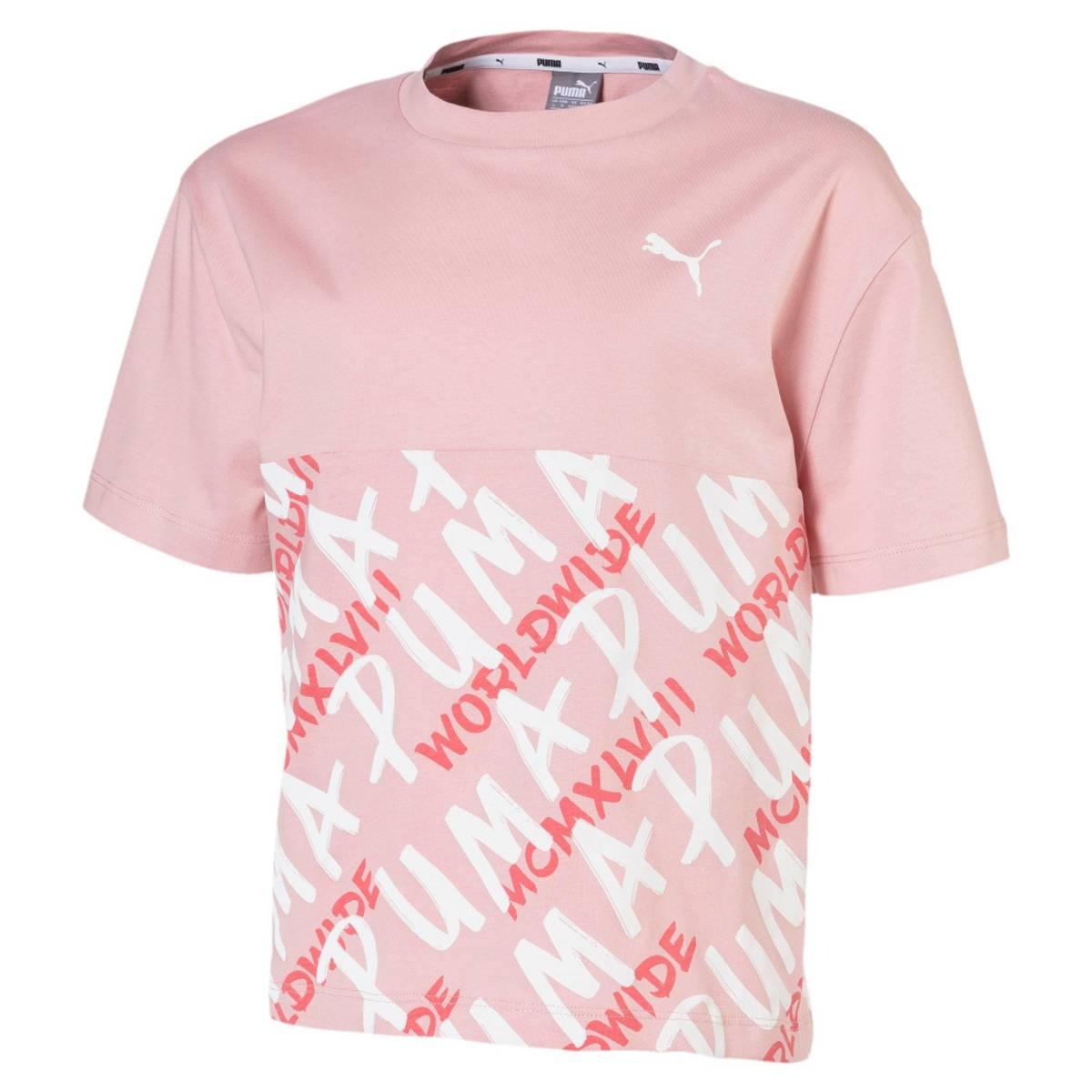 Rosa Puma Alpha Aop Tee Girl T-skjorte