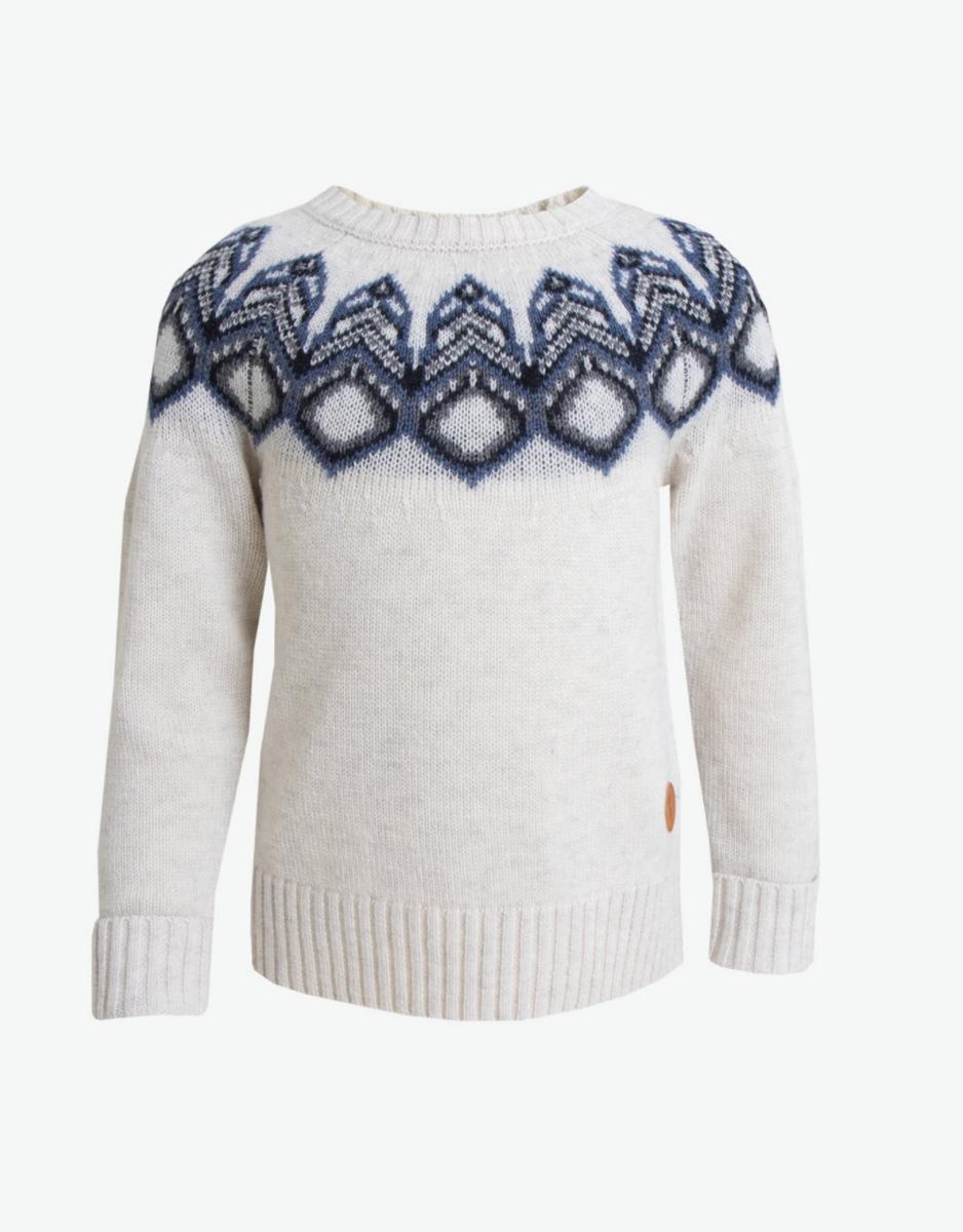 Tufte Kids Lambswool Pattern Sweater - Hvit