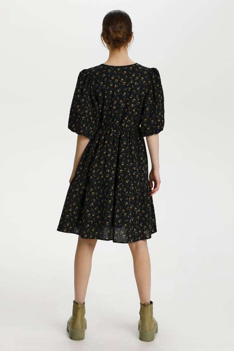 GESTUZ - AveryGZ Short Dress Tulip Black and Yellow