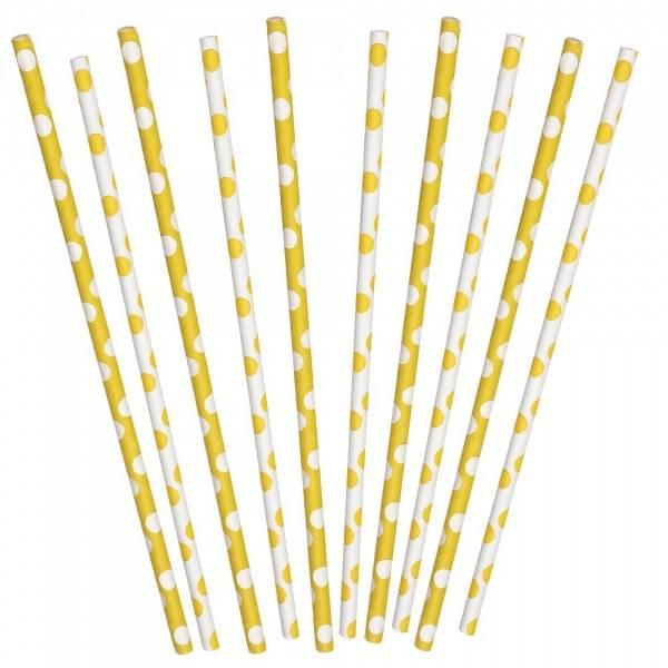 Papirsugerør gule dots 10-pk mix