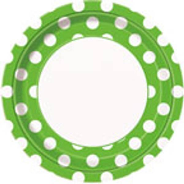 Papptallerken grønn dots 8-pk