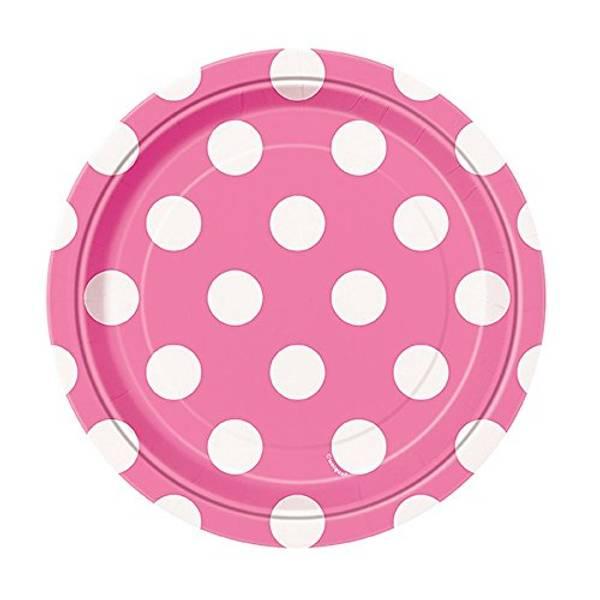 Papptallerken rosa dots 8-pk liten