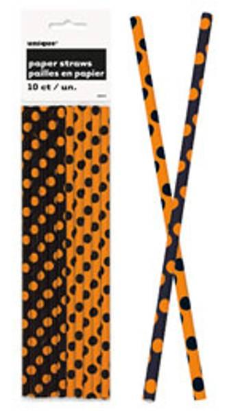 Papirsugerør sort/oransje dots 10-pk