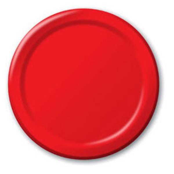 Papptallerken rød 8-pk liten