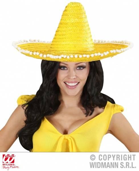 Gul Sombrero med Pom Poms