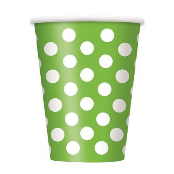 Pappbeger limegrønn dots 6-pk