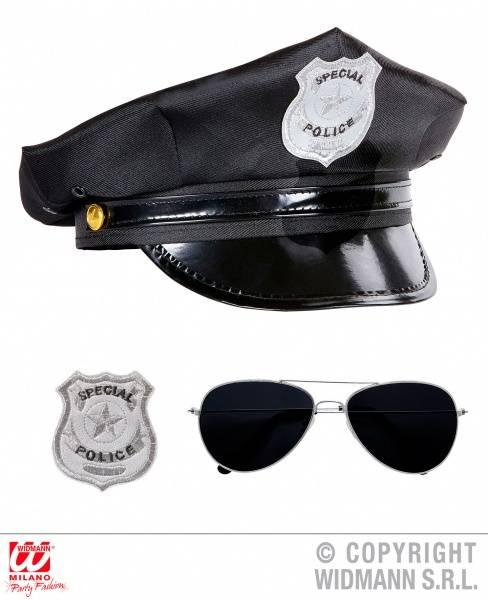 """""""Politi""""-Sett (Hatt, Briller og Skilt)"""