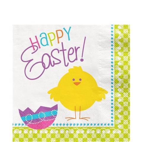 Bilde av Servietter Happy Easter m/Kylling 33cm 16stk