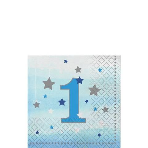 Bilde av Twinkle One Little Star 1 År Blå Servietter 25cm 16stk