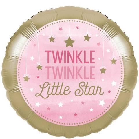 Bilde av  Twinkle One Little Star Rosa Folie Ballong 44cm